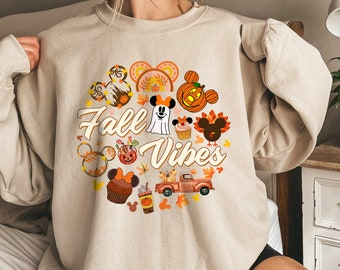 Disney Fall vibes sweatshirt, fall tee shirt, fall apparel, Disney Snack Shirt, Disney Pumpkin Shirt, pumpkin patch shirt, Halloween shirt