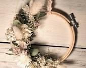 Flower wreath, spring wreath, dried flowers, eucalyptus, boho wreath, floral hoop