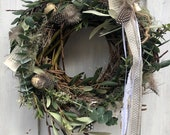 Willow wreath eucalyptus olive branches Euphorbia spinosa quail eggs feathers