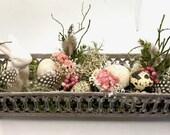 Floral Easter greeting in filigree metal vessel