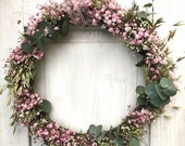 "Wreath ""Spring Awakening"" Veil Weed, Eucalyptus, Oats"