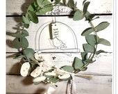 Flower wreath eucalyptus bird or hyacinth