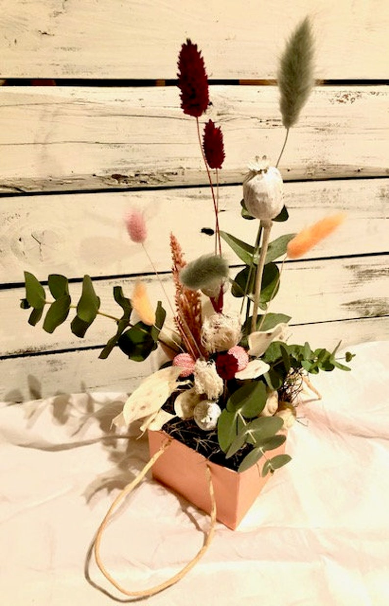 Flower bag with dried flowers thyme pampas grass eucalyptus image 0