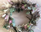 delicate dry flower wreath Euphorbia spinosa, eucalyptus