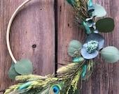 Boho Wreath Turquoise - Grasses, Feathers, Lagurus