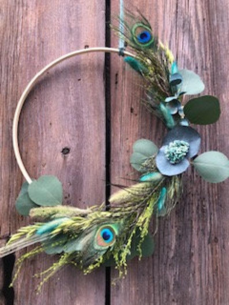 Boho Wreath Turquoise  Grasses Feathers Lagurus image 1