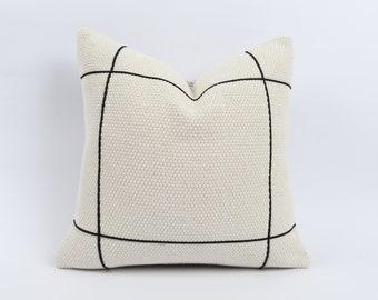 Ethnic Pillow Cotton Cushion Beige Modern Pillow Turkish Lumbar Pillow Handmade Pillow 16x24 Pillow 481 Striped Pillow Kilim Pillow