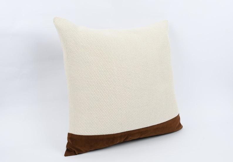 Sofa Throw Pillow Cotton Pillow Bohemian Kilim Pillow Cushion Cover 24x24 Turkish Kilim Pillow Brown Leather Pillow Home Decor
