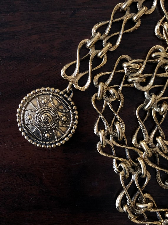 Vintage Chanel gold plated double chain belt
