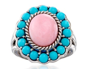 Turquoise Ring-Pink Turquoise Sterling Silver Ring-Pink Copper Turquoise Silver Ring-9x18 mm Hexagon Turquoise Ring for Her