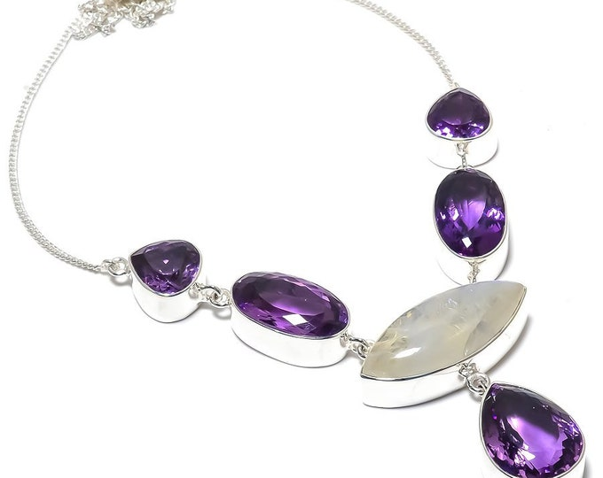 Amethyst Cut Moonstone Natural Gemstone 925 Solid Sterling Silver Handmade Necklace