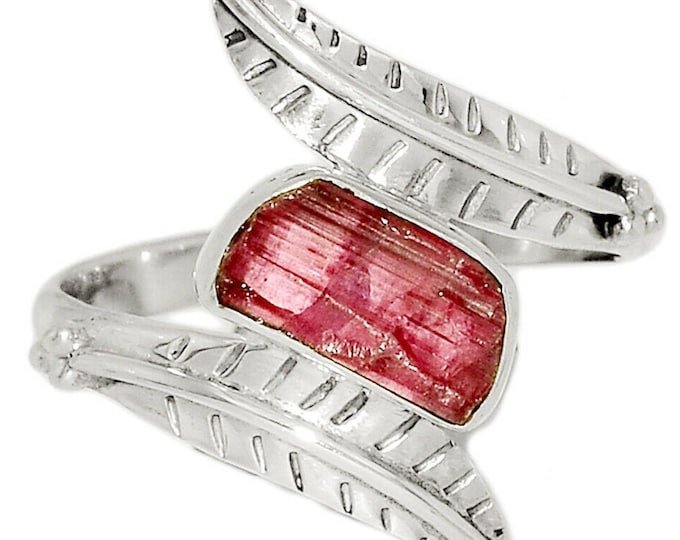 Pink Tourmaline Rough Natural Gemstone 925 Solid Sterling Silver Handmade Ring