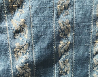 Vintage blue decorator fabric by the yard