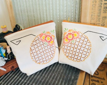 VINTAGE LINEN reimagined set of two lined Zip BAGS bouquet of Hand embroidery