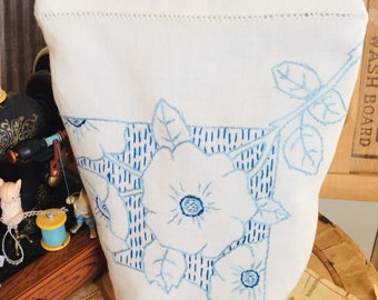 VINTAGE LINEN reimagined single Zip BAG lined with mini leaf print and Hand embroidery