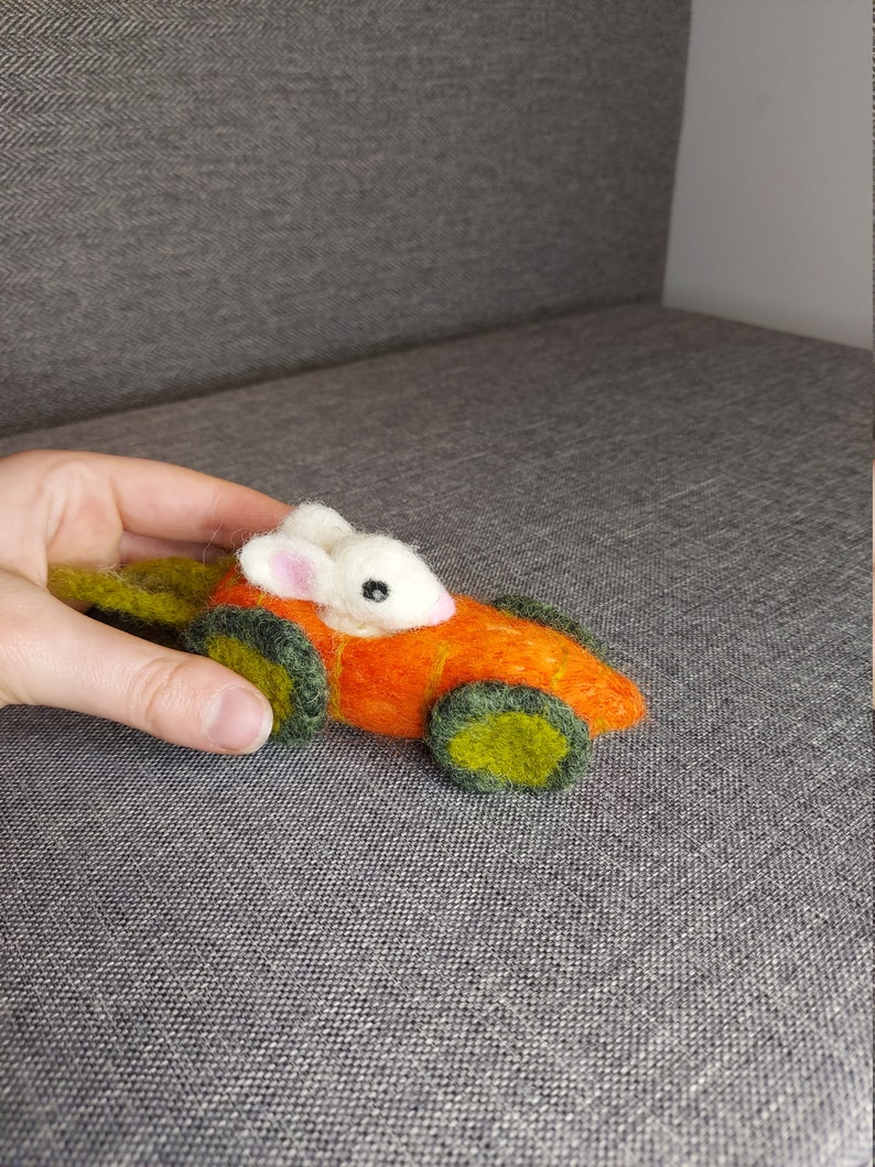 The Carroteers Racing Rabbits in Carrot Stunning Needle Felted Special Unique GiftCollectiblePresentEasterRareHandmade