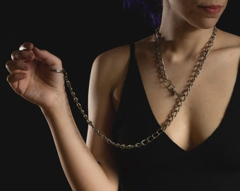 Sexy BDSM Day Collar Leash / Metal Thick O Ring Curb Chain Hook Link Choker / Custom Plus Size Heavy Necklace  Goth Slave Submissive Collars