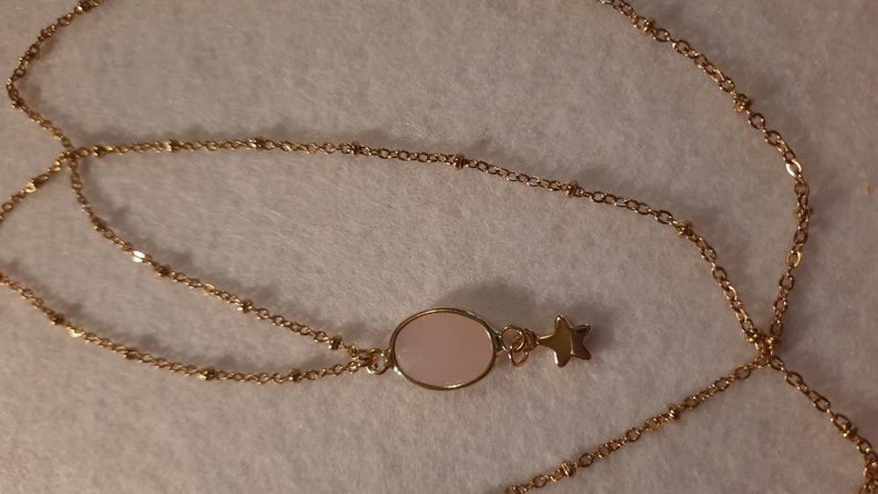 Golden chain gold stainless steel chain and pink quartz facets