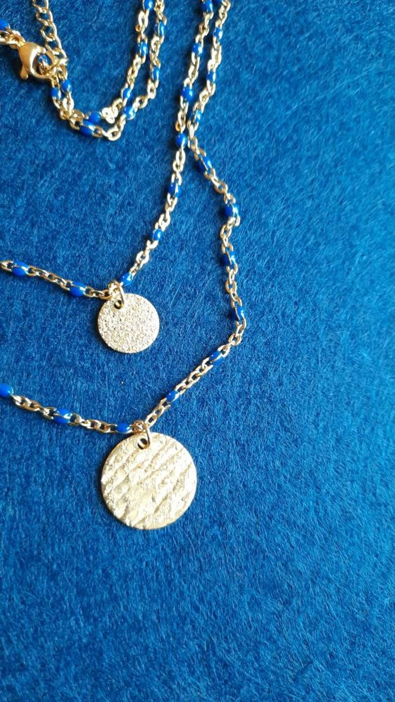 Double-ranked stainless steel stamp necklace