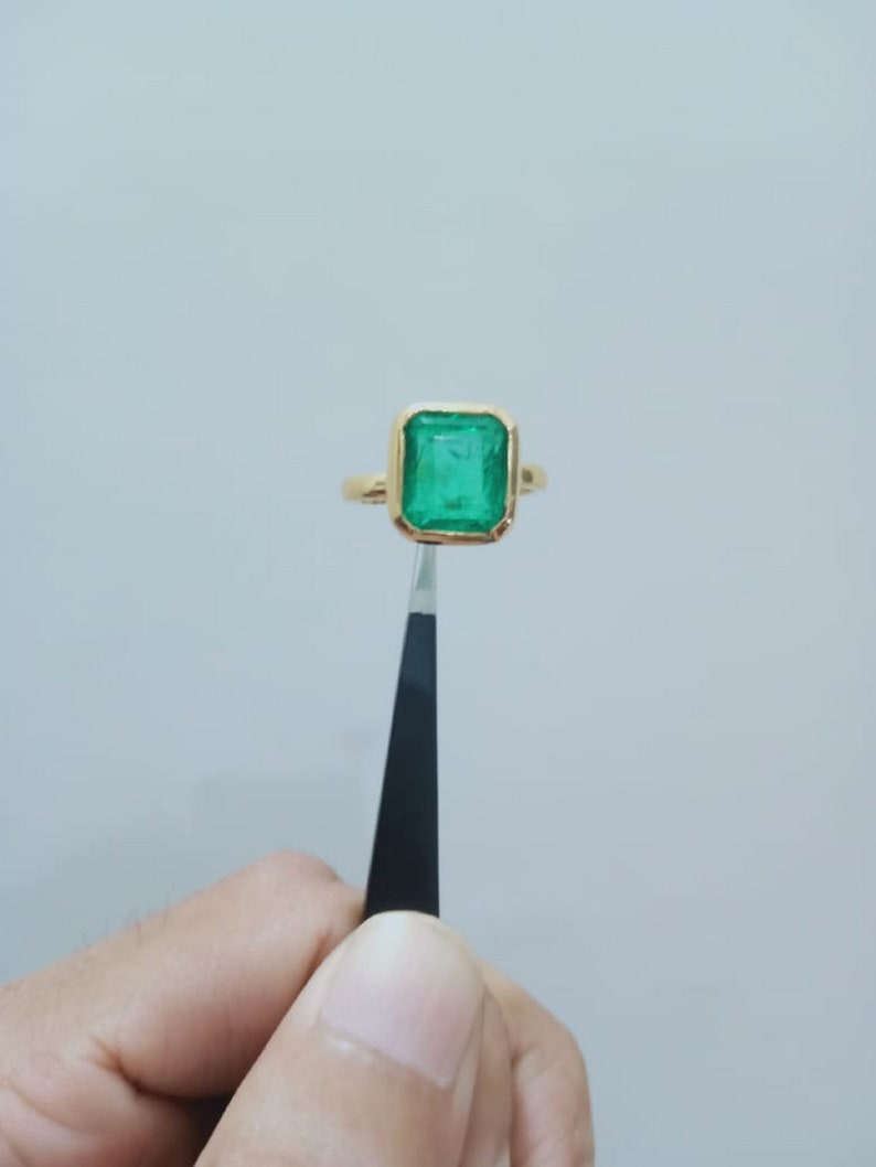 Gorgeous 5.2 CT Elegant Beryl Natural Unheated Untreated Earth Mined Rectangle Emerald Handmade Cocktail 18K Gold Plated Engagement Ring