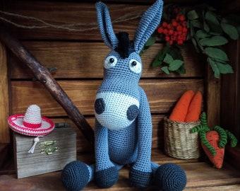 Crochet donkey, Crochet interior toy, Amigurumi crochet toy, Crochet stuffed animal, Decorative crochet toy, Donkey mexican, Donkey toy