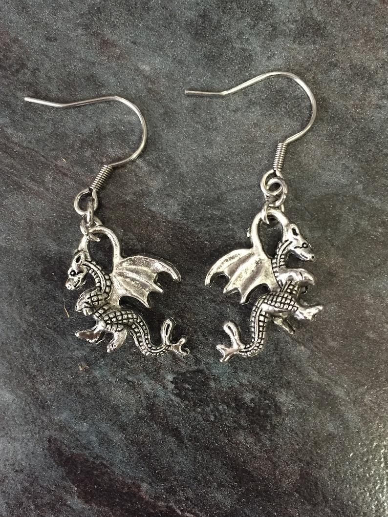 Dangle Earrings. Welsh Dragon Silver Colour Dragon Earrings Fantasy Mother of Dragon Gothic Earrings