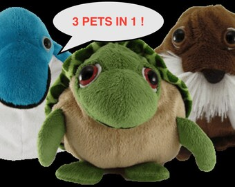 3 in 1 Reversible Plush - Sea Life Collection (Dolphin, Walrus, Sea Turtle) Pop Out Pets