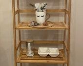 47.5 39 39 Bamboo Ladder Shelf, Multifunctional Plant Flower Display Stand, Storage Rack, Bookcase Bookshelf Natural (4 Tier)