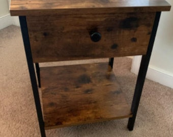 Nightstand, End Table, Side Table with Drawer and Shelf, Bedroom, Easy Assembly, Steel, Industrial Design, Rustic Brown and Black