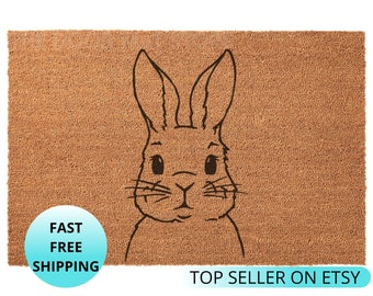 Rabbit Doormat Etsy