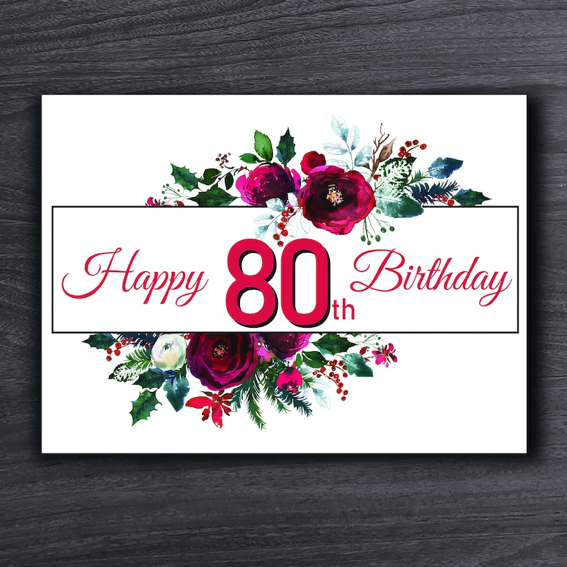 Instant Download Birthday Card 80th Birthday Card Printable 80th Birthday Card Looking Good at 80 Happy 80th Birthday