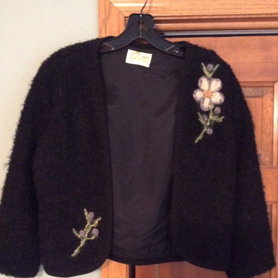 VINTAGE Glentex Boucle Bolero Jacket with Floral E