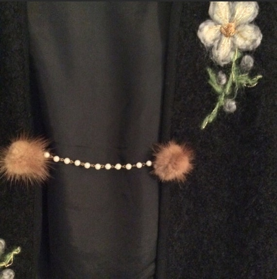 VINTAGE Mink and Pearl Sweater Guard/Clasp