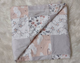 Minky Clouds & Bunnies Patchwork Swaddle