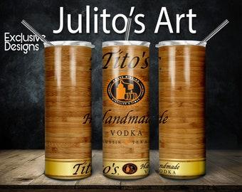 Titos Handmade Vodka Skinny Tumbler Design