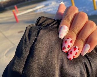 Strawberry Milk Cow Nails