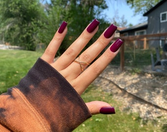 Dark Maroon Autumn Nails   Short Square in picture  Fall Nails