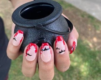 Bat Winged Halloween Nails  Short Coffin Nails in Picture 