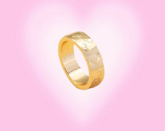Gold Band Ring with Butterflies, Gold Jewelry, Gift For Her, Trendy Rings