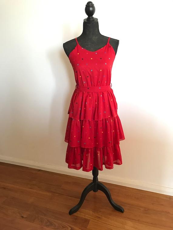 VINTAGE Red Ruffle Polka Dot Tiered Dress Size AU
