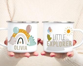 Little Explorer Dinosaur Enamel Mug | Custom Kid Enamel Mug | Personalized Kid Enamel Mug | Custom Enamel Mug | Balloon Mug | Kid Mug | Kids