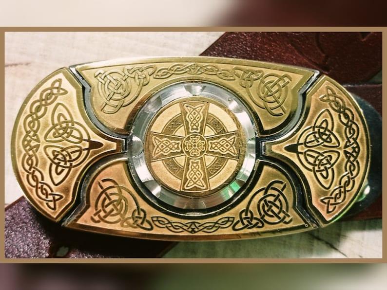 Laser Engraving Brass Cognac Color Genuine Leather Belt Buckle Belt with knives KEEPERBELT Brass Buckle Belt TM Celtic Cross Belt