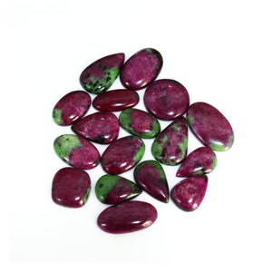 5191-93 Natural RUBY ZIOSITE PEAR Cabochon Loose Gemstone 28x44x7mm 85 Cts