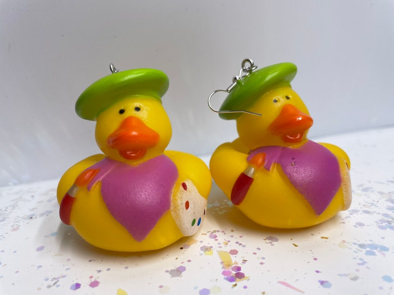 Lil Green Beret /& Black Beret Artist Rubber Ducky Earrings!