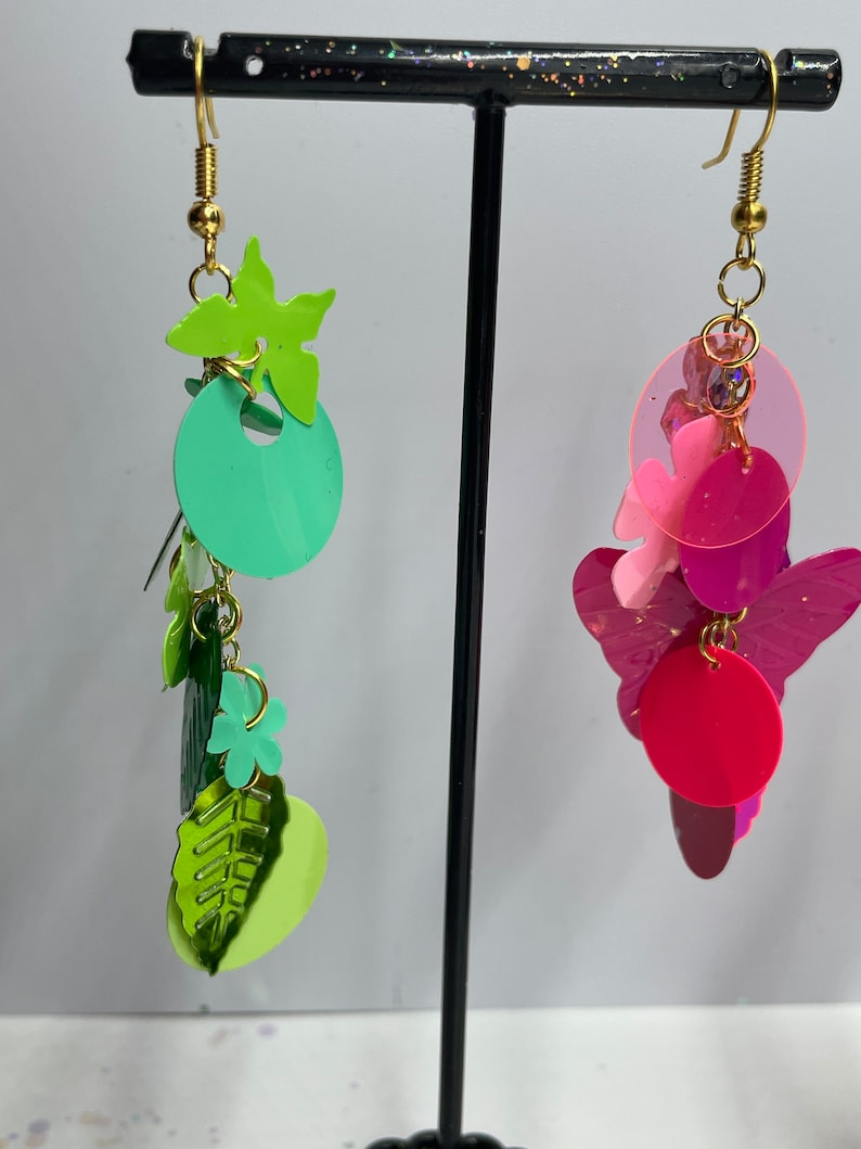 Choose Red Purple Pink Random Shape Color Themed Sequin Earrings Blue Orange Green Rainbow or Mix Matched Options! In Gold /& Silver