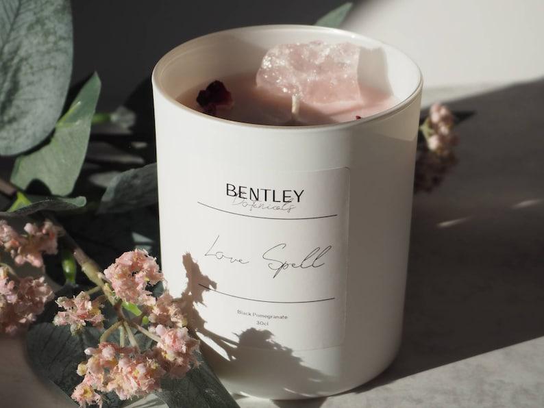 Love Spell Candle  Rose Quartz Infused  Black Pomegranate image 0