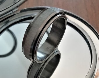 Statement Ring Spinning Ring Spin Ring Rotating Ring Worry Ring Meditation Ring Spinner Ring Silver Brushed Smooth Steel Fidget Ring