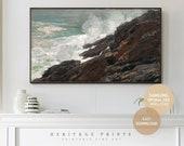 Samsung Frame TV Art, Ocean Cliffs Waves Coastal Landscape Painting Digital Art Download for TV, Vintage 1800 Seascape Oil Painting TV Cover