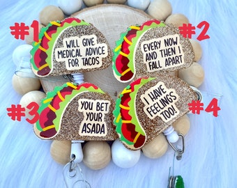 Taco Badge Reels, Food Badge Reel, Funny Saying Badge Reel, Medical Badge Reel, Dietitian Badge Reel, Grocery Store, Retractable ID Holder
