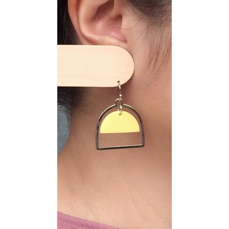 Arch Dangle Earrings  yellow /& silver  polymer clay  nickel free jewelry